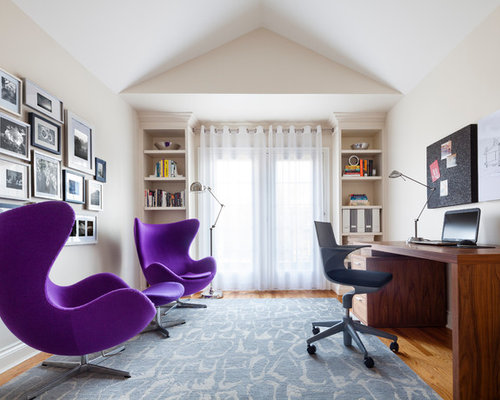 Mid Sized Eclectic Freestanding Desk Medium Tone Wood Floor Study Room  Photo In Toronto With Part 95