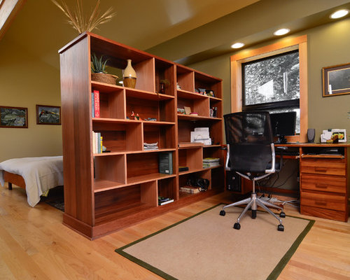 Trendy Home Office Photo In Portland With Green Walls Medium Tone Wood Floors And A