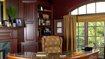 Elegant Office with Walnut Paneled Walls and Coffered Ceiling.