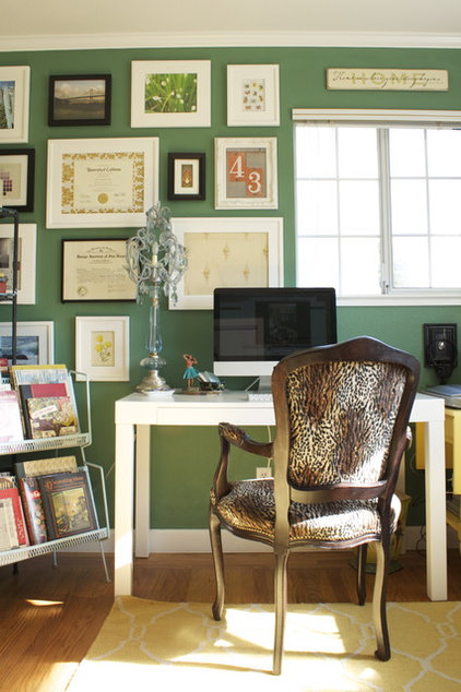 eclectic home office by Story & Space - Interior Design and Color Guidance  Pantone Color of 2013: Emerald Decorations 6a21477d0f358de8 0093 w422 h634 b0 p0  eclectic 20home 20office