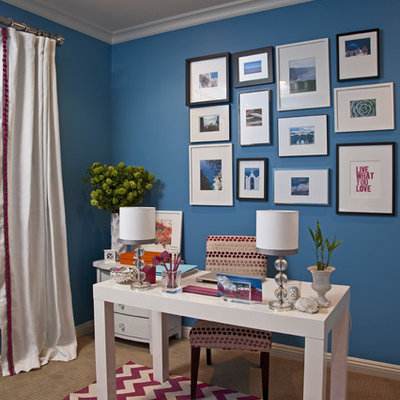 Home office - traditional home office idea in Los Angeles with blue walls