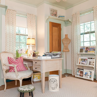 Ordinaire Cottage Chic Freestanding Desk Home Office Photo In Nashville With White  Walls