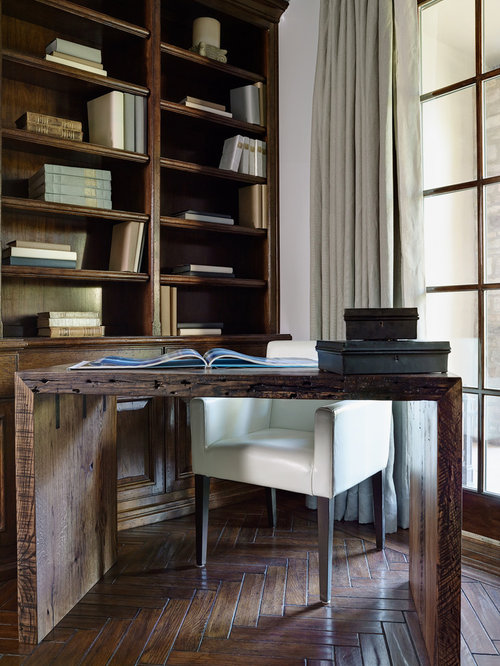Inspiration for a mediterranean freestanding desk dark wood floor study  room remodel in Phoenix with white