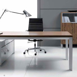 Executive Office - Modern and minimalist range of managerial furniture called Online. The unique stile is based on unusual materials combination like natural American walnut and American cherry veneers combined with anodized aluminum that gives harmonious furniture line.  Price for desk only.  Additional storage cabinets available.