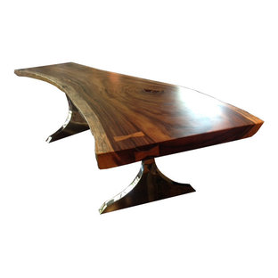 Exotic Solid Wood Slab Table #1094 LIVE EDGE Suar Table w/ Stainless Steel Bases