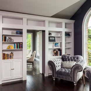 Medium sized classic home office and library in Baltimore with a reading nook, purple walls, dark hardwood flooring, no fireplace and brown floors.