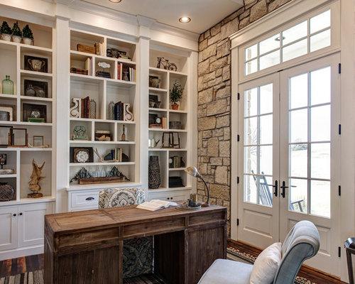 Country Freestanding Desk Dark Wood Floor And Brown Floor Study Room Photo  In Other