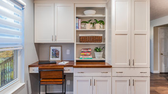 Farmhouse kitchen with wood counter tops