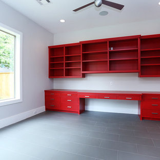 Example of a trendy home office design in Houston