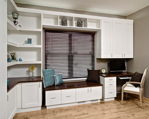 murphy bed office. Inspiration For A Large Contemporary Built-in Desk Light Wood Floor And Brown Home Murphy Bed Office C