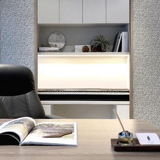 Idées déco pour un bureau scandinave de taille moyenne et de type studio avec un sol en vinyl.