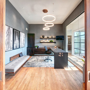 Home office - contemporary freestanding desk light wood floor home office idea in Kansas City with gray walls
