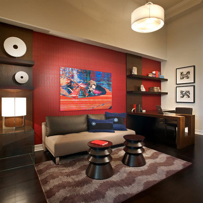 Home office - contemporary built-in desk brown floor home office idea in Miami