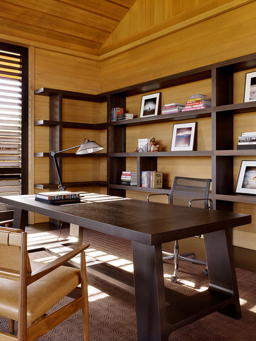 Inspiration For A Contemporary Freestanding Desk Carpeted Home Office Remodel In Hawaii