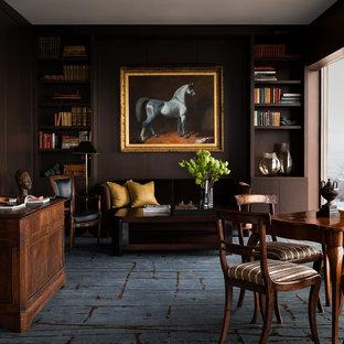 Idées déco pour un bureau contemporain avec un mur marron, moquette, un bureau indépendant et un sol bleu.