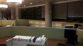 Fitted shelving in a school library