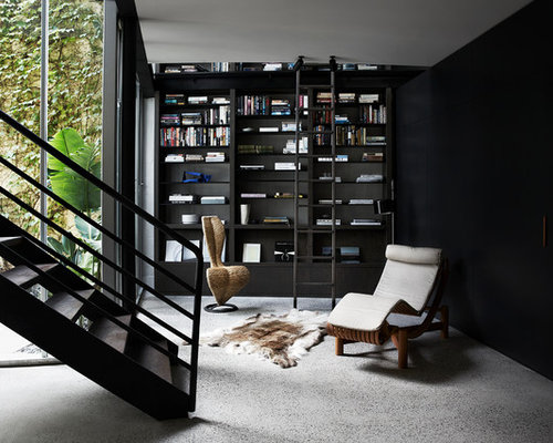 This Is An Example Of A Contemporary Home Office In Melbourne With A  Library, Black