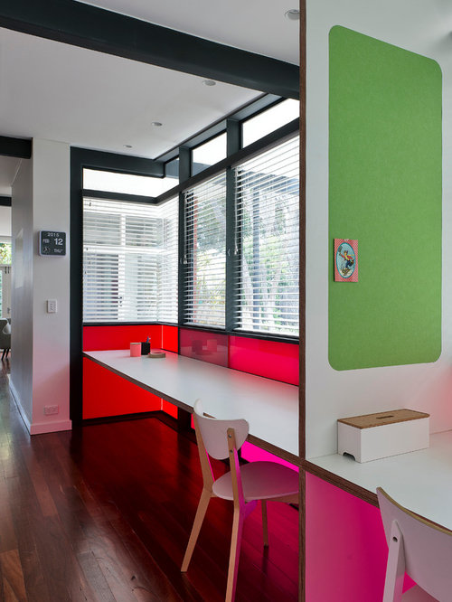 home office designs ideas. inspiration for a contemporary home office in perth with white walls dark hardwood floors and designs ideas