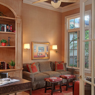 Island style bamboo floor home office photo in Miami
