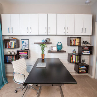 Trendy freestanding desk carpeted home office photo in Salt Lake City with beige walls