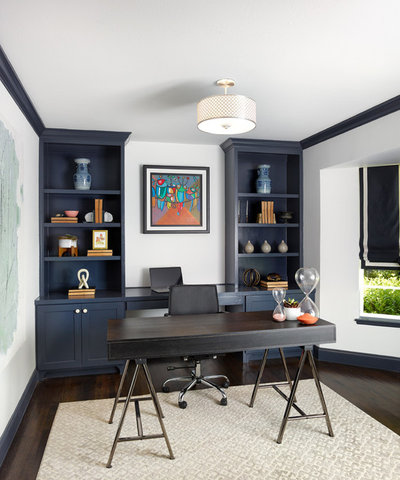 Transitional Home Office by Joseph Aparicio Interiors
