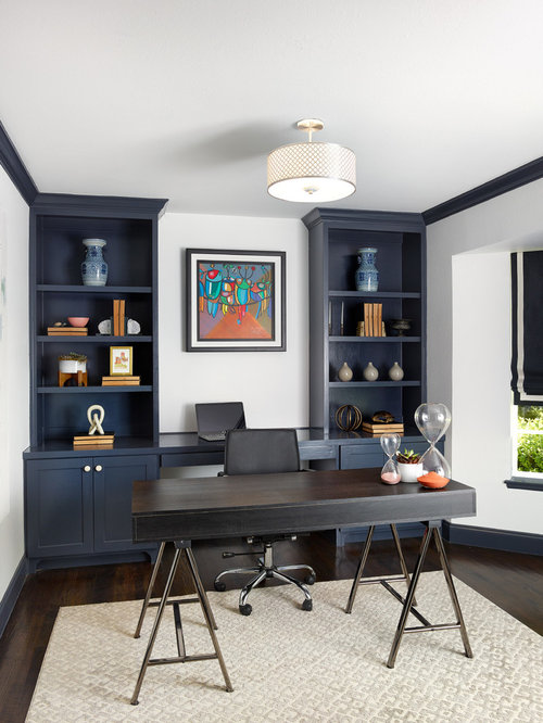 Transitional Freestanding Desk Dark Wood Floor And Brown Floor Study Room  Photo In Dallas With White