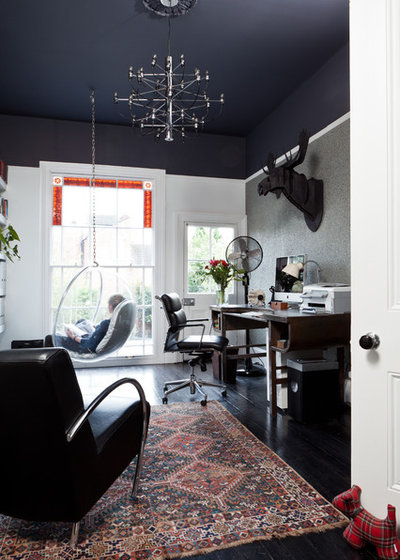 Transitional Home Office & Library by Boutique Homes