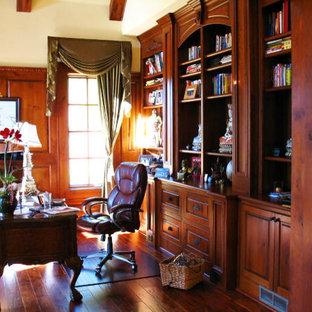 アトランタの巨大なアジアンスタイルのおしゃれなホームオフィス・書斎 (ライブラリー、濃色無垢フローリング、暖炉なし、自立型机) の写真