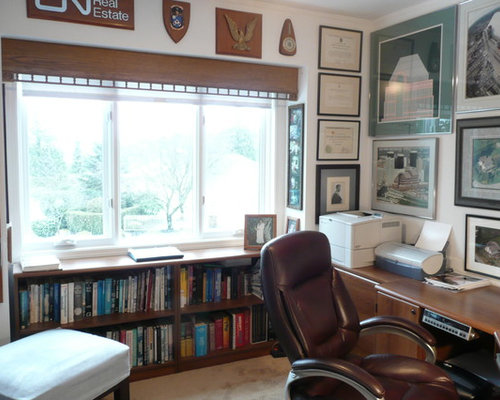 Inspiration For An Eclectic Built In Desk Home Office Remodel Vancouver With White Walls