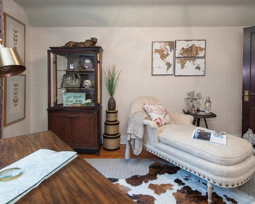 mid sized eclectic study room idea in louisville with multicolored walls light hardwood floors