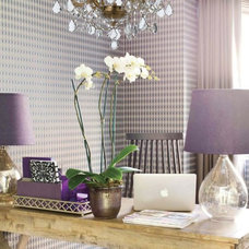 Transitional Home Office by Northwest Lighting and Accents