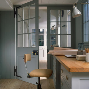 Industrial home office and library in London.