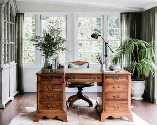 traditional office design. large traditional study room in sydney with beige walls dark hardwood floors and a freestanding office design r