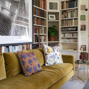Foto di uno studio chic di medie dimensioni con libreria, pareti bianche, moquette, nessun camino e pavimento grigio