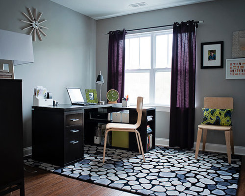 Large Transitional Freestanding Desk Dark Wood Floor Home Office Idea In Other With Gray Walls