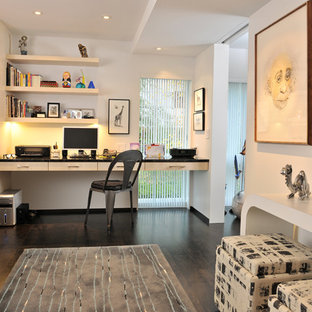 Trendy Built In Desk Dark Wood Floor Home Office Photo Other With White Walls