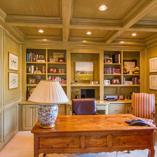 Mid-sized elegant freestanding desk carpeted and beige floor study room photo in Sacramento with green walls and no fireplace