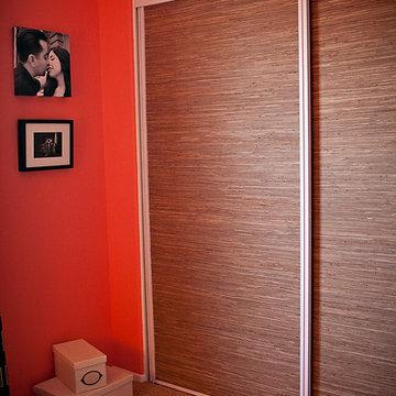 Grass Cloth Covered Closet Doors