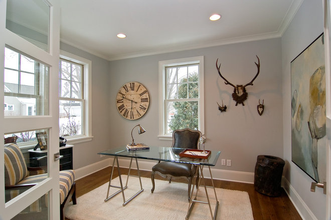 Transitional Home Office by Great Neighborhood Homes