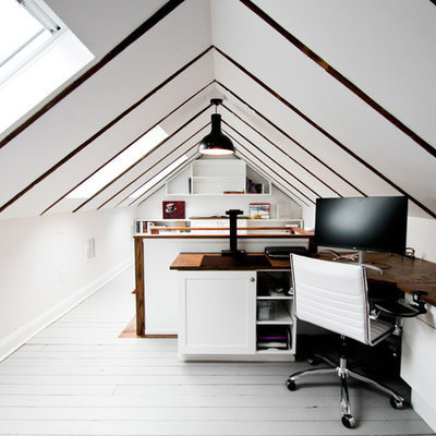 Mid-sized transitional built-in desk painted wood floor and gray floor study room photo in Bridgeport with white walls and no fireplace