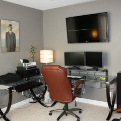 modern home office green and grey home office