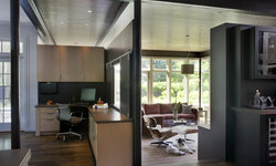 Green Gambrel Home Office and Family Room