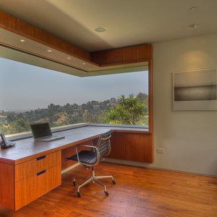 Example Of A Minimalist Built In Desk Medium Tone Wood Floor Home Office  Design In