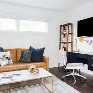 Example Of A Coastal Freestanding Desk Dark Wood Floor Study Room Design In  Los Angeles With