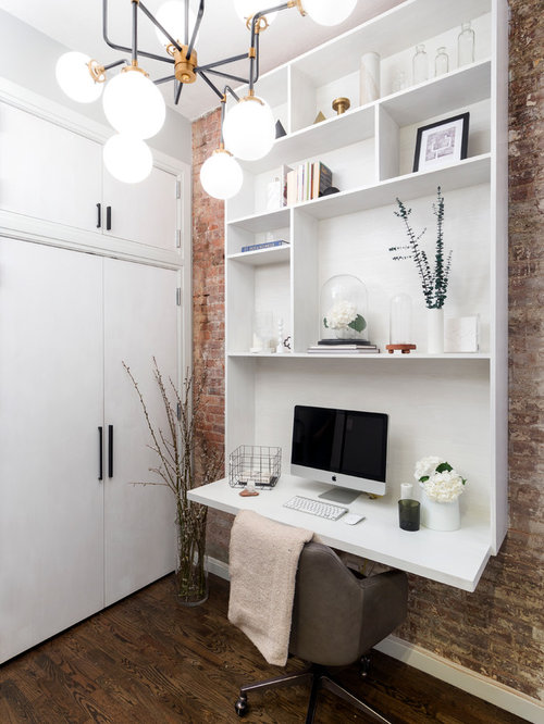 small home office design. brilliant home example of a small trendy builtin desk dark wood floor study room design in with small home office design w