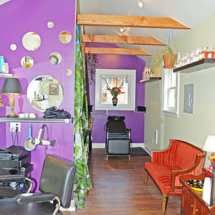 Design ideas for a small eclectic home studio in Portland with purple walls, dark hardwood flooring, no fireplace and brown floors.