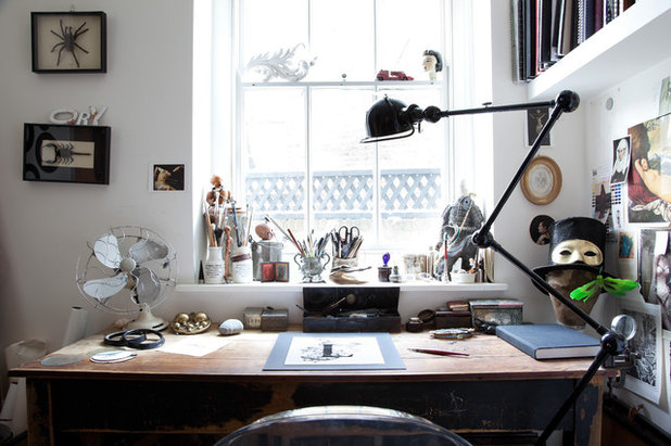 Eclectic Home Office & Library by Paul Craig Photography