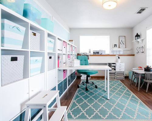 Inspiration For A Small Transitional Built In Desk Laminate Floor Craft Room  Remodel In Seattle Part 74