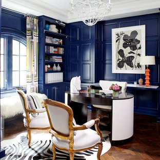 Fun ideas for the office Room Ideas Example Of An Eclectic Freestanding Desk Dark Wood Floor Home Office Design In New York With Houzz Fun Home Office Ideas Photos Houzz