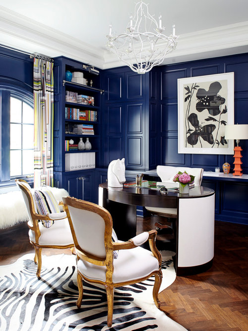 Example Of An Eclectic Freestanding Desk Dark Wood Floor Home Office Design In New York With